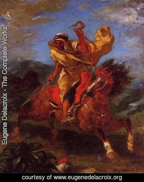 Eugene Delacroix - An Arab Horseman at the Gallop
