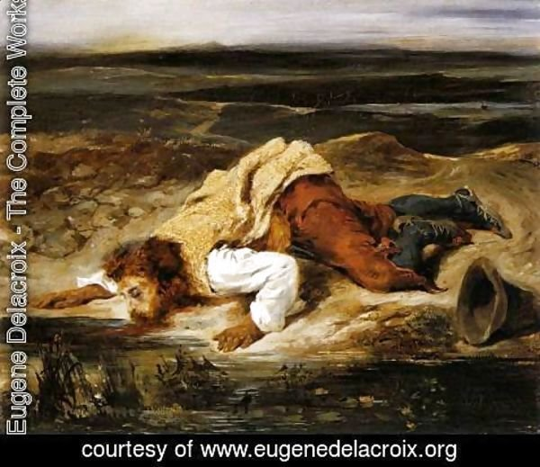 Eugene Delacroix - A Mortally Wounded Brigand Quenches his Thirst