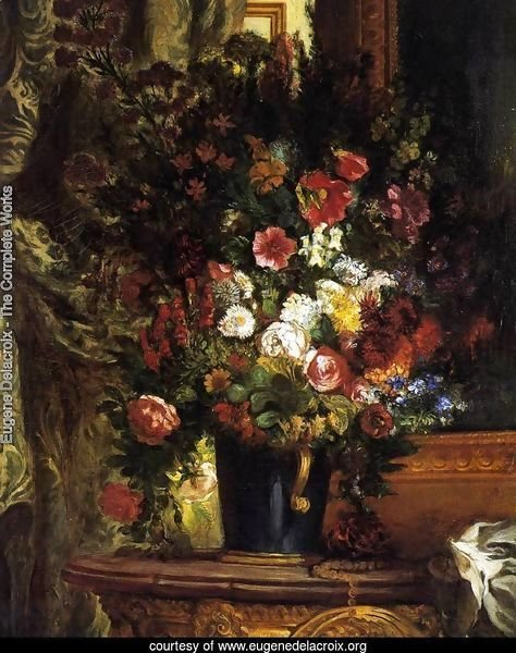 A Vase of Flowers on a Console