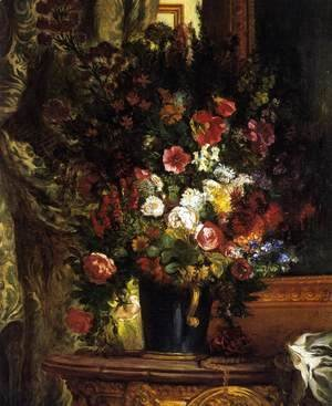 Eugene Delacroix - A Vase of Flowers on a Console