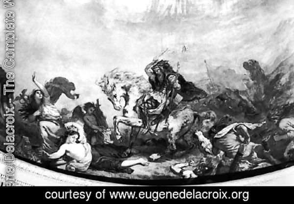 Eugene Delacroix - Attila the Hun (c.406-453) and his hordes overrunning Italy and the Arts