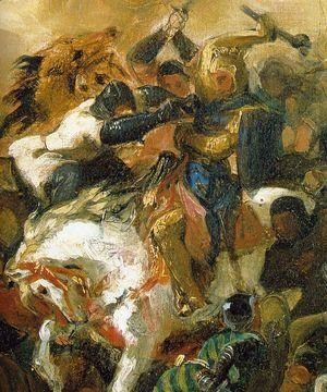 Eugene Delacroix - The Battle of Tailleburg (Detail of Louis IX on white horse)