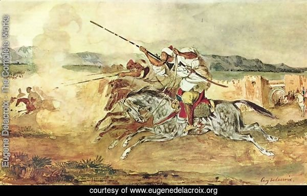 A Turkish Man on a Grey Horse attacking