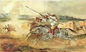 Eugene Delacroix - A Turkish Man on a Grey Horse attacking