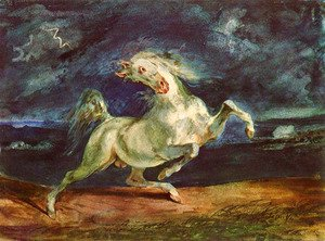 Eugene Delacroix - Before lightning shrinking of horse