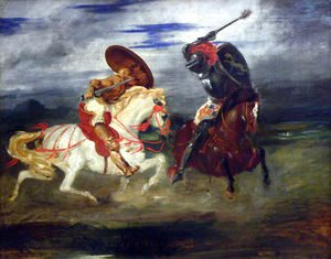 Eugene Delacroix - Confrontation of knights in the countryside