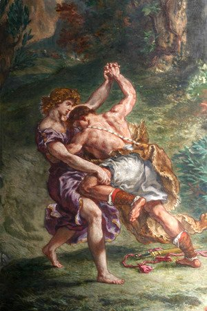 Eugene Delacroix - Jacob fights with a man of the sky