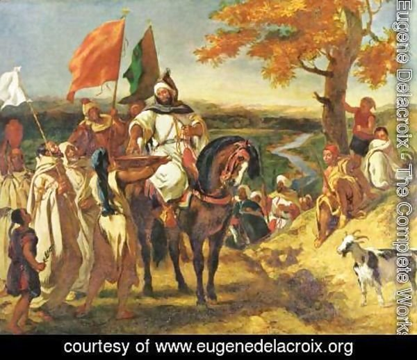 Eugene Delacroix - Moroccan sheikh visits his trunk