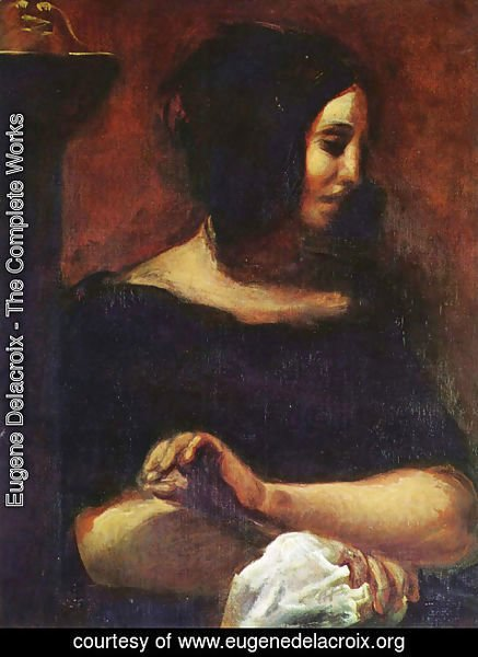 Eugene Delacroix - Portrait of George Sand