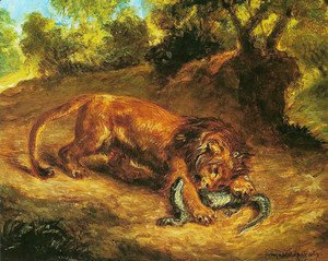Eugene Delacroix - The lion and the caiman