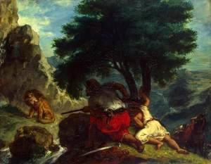 Eugene Delacroix - The Lion Hunt in Marocco