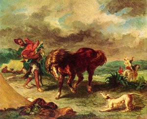 Eugene Delacroix - The Maroccan and its horse
