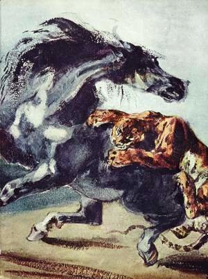 Eugene Delacroix - Tiger attacks a horse