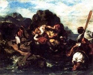 Eugene Delacroix - African Pirates Abducting a Young Woman