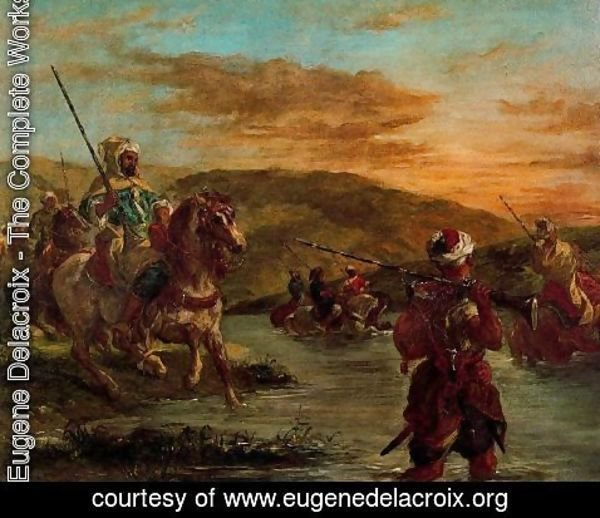 Eugene Delacroix - Crossing a stream in Morocco