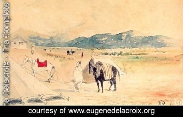 Eugene Delacroix - Encampment in Morocco, between Tangiers and Meknes