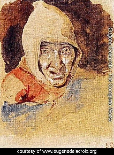 Eugene Delacroix - Head of an elderly woman