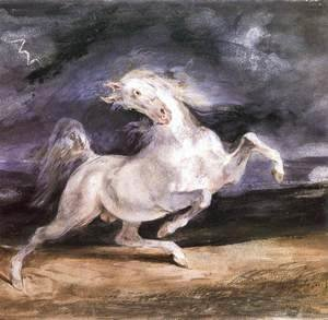 Eugene Delacroix - Horse Frightened by a Storm