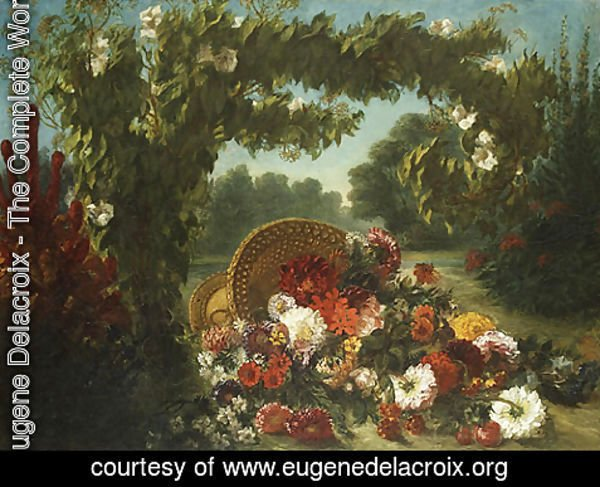 Eugene Delacroix - Basket of Flowers 1848