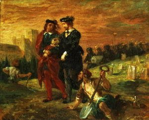 Eugene Delacroix - Hamlet and Horatio in the Cemetery 1859