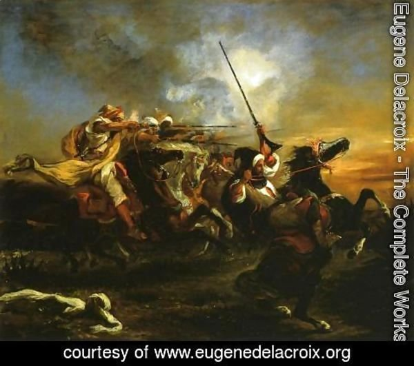 Eugene Delacroix - Moroccan horsemen in military action 1832