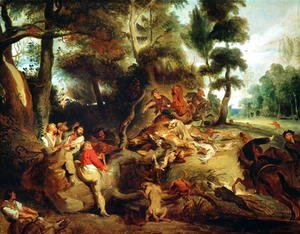 Eugene Delacroix - The Wild Boar Hunt after a painting by Rubens 1840 50