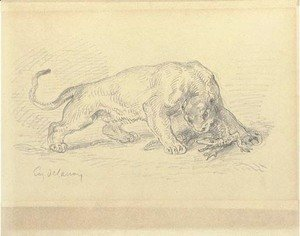 Eugene Delacroix - A lioness attacking a crocodile