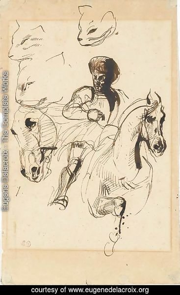 A man in armour on horseback, with studies of a horse's head and cats' heads