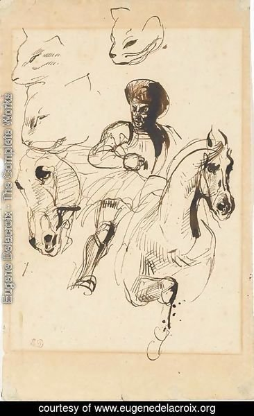 Eugene Delacroix - A man in armour on horseback, with studies of a horse's head and cats' heads