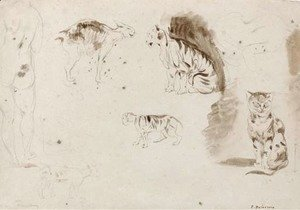 Eugene Delacroix - Studies of cats, other felines and two female nudes seen from behind