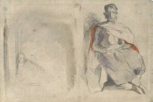 Eugene Delacroix - Study of a seated man in oriental dress and study of a figure in a doorway