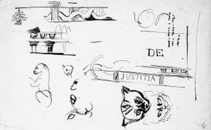 A sheet of studies of the heads of cats, architectural motifs and after the antique decoration for the Chambre de Deputes, Paris
