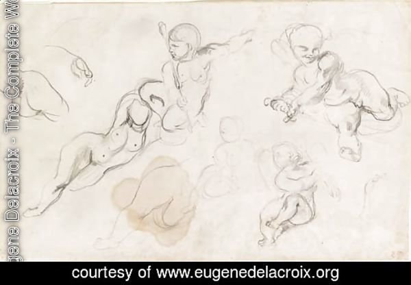 Studies of putti and a female nude