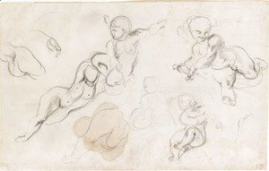 Eugene Delacroix - Studies of putti and a female nude