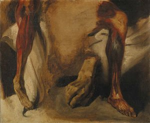 Eugene Delacroix - A severed Hand and two corchs of a Leg