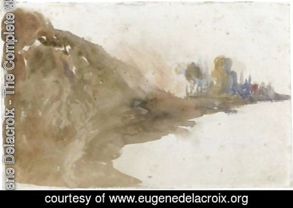 Eugene Delacroix - View Of A Riverbank