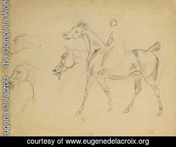 Eugene Delacroix - A figure riding a horse in profile to the left, with three subsidiary studies of the horse's heads