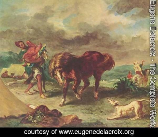 Eugene Delacroix - The Moroccan and his Horse