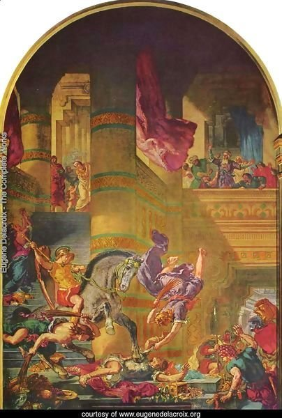 Mural for Saint-Sulpice in Paris, Chapel of the Holy Angels, Scene expulsion of Heliodorus from the Temple