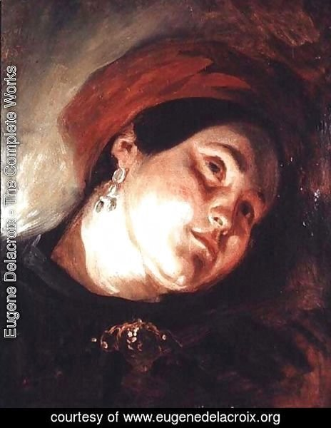 Eugene Delacroix - Head of a Woman in a Red Turban