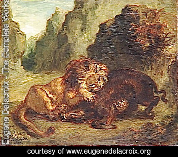 Eugene Delacroix - Lion and boar