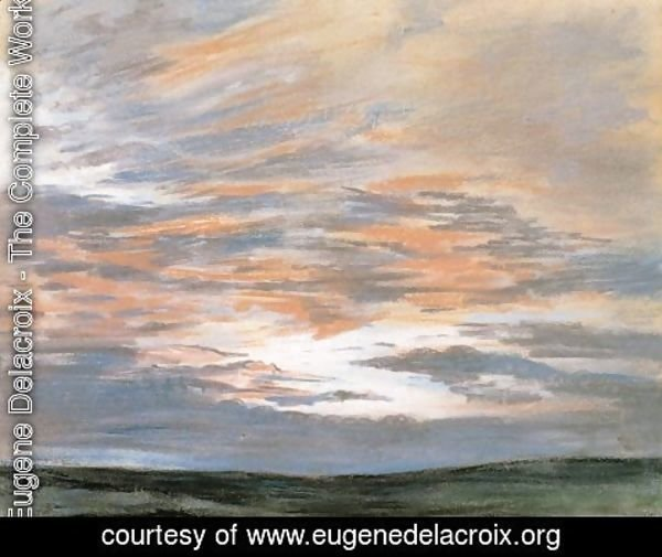 Eugene Delacroix - Study of the Sky at Sunset