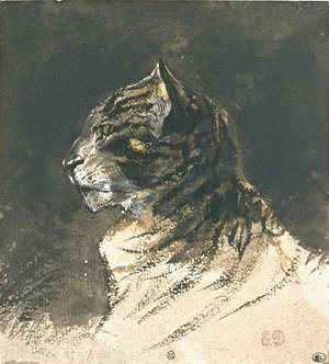 Eugene Delacroix - Cat head