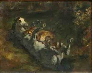 Eugene Delacroix - Horse Attacked by Lioness