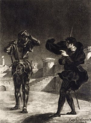 Eugene Delacroix - Hamlet Sees the Ghost of his Father
