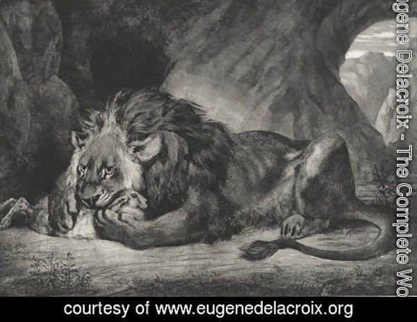Eugene Delacroix - Lion of the Atlas
