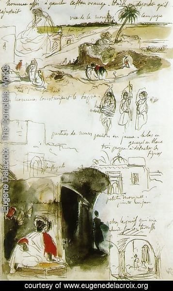 Eugene Delacroix - Page from the Moroccan Notebook
