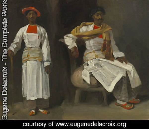 Eugene Delacroix - Two Views of an Indian from Calcutta, Seated and Standing
