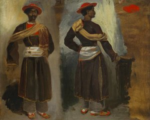 Eugene Delacroix - Two Views of a Standing Indian from Calcutta