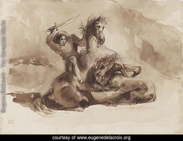 Horse and Rider Attacked by a Lion